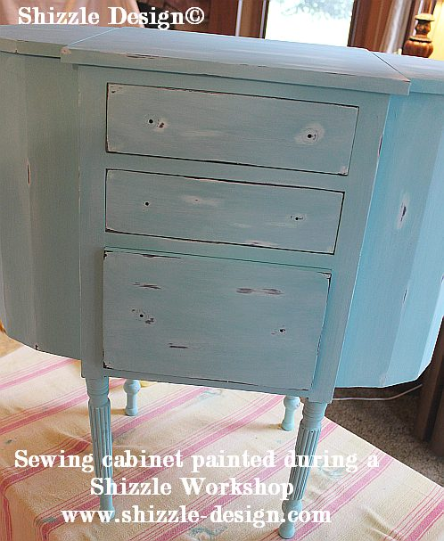 July 9 Shizzle Style Paint Workshop Grand Rapids, Michigan sewing cabinet turqoise chalk clay paint ideas 2