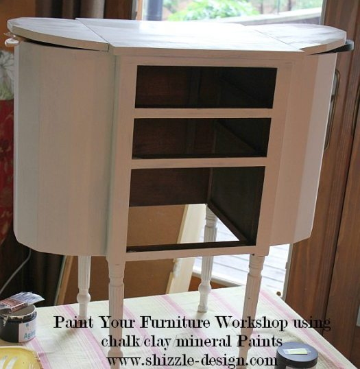 July 9 Shizzle Style Paint Workshop Grand Rapids, Michigan sewing cabinet turqoise chalk clay paint ideas 3