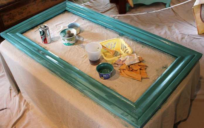 July 9 Shizzle Style Paint Workshop West Michigan layering colors on a large bulletin board teal blue chalk clay paint ideas