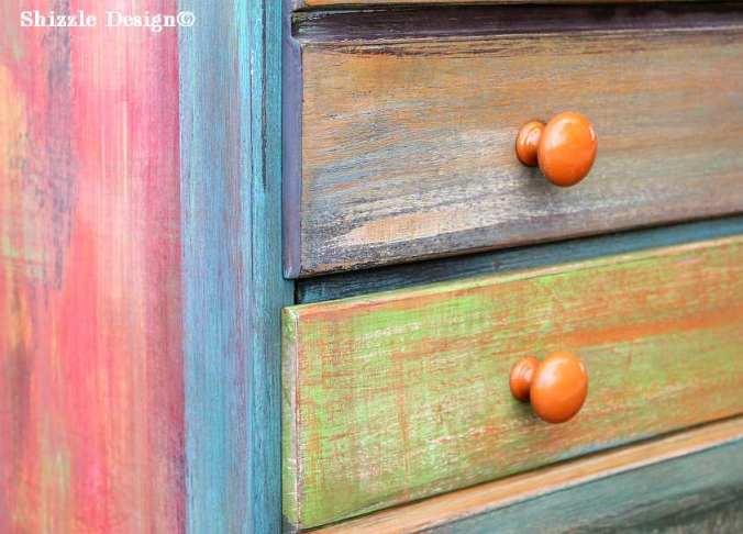 Patchwork #painteddresser Shizzle Design Grand Rapids, Michigan chalk clay paints #paintedfurniture best colors ideas #americanpaintcompany 8