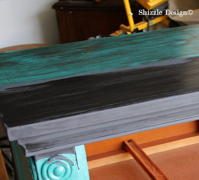 Shizzle Design Black Amp Teal Console Table Heavily