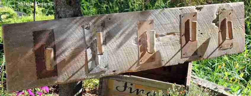 Shizzle Design re-purposed junk reclaimed barn wood hooks antique vintage hooks 2
