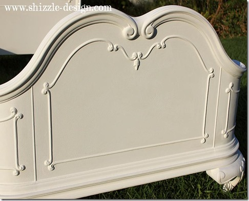 Antique hand painted princess twin bed beautiful sculpted headboard Shizzle Design American Paint Company chalk clay paint ideas Navajo White 3