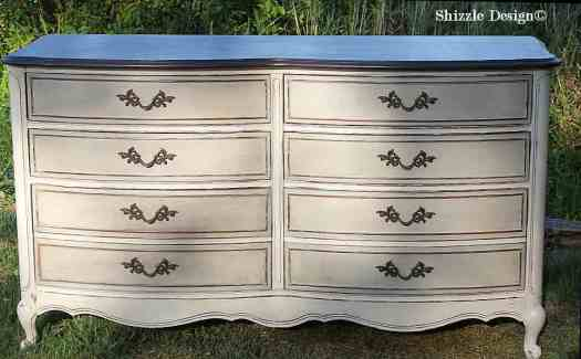 French Provencial dresser painted taupe, white, chalk, clay paints Shizzle Design furniture ideas american paint company Rushmore Home Plate 4