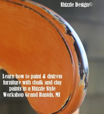 September 14 Shizzle Style Furniture Paint workshops Grand Rapids michigan how to diy CeCe Caldwell's Mesa Sunset  chalk clay paint 14 distress how