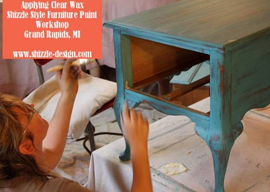 October Workshops #shizzledesign furniture paint chalk clay best Grand Rapids MI how to table #cececaldwells #americanpaintcompany Santa Fe Turquoise table 2