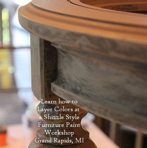 October Workshops #shizzledesign furniture paint workshops chalk clay best Grand Rapids MI how to table #cececaldwells #americanpaintcompany Pittsburgh Gray Virginia Chestnut brown 3 table