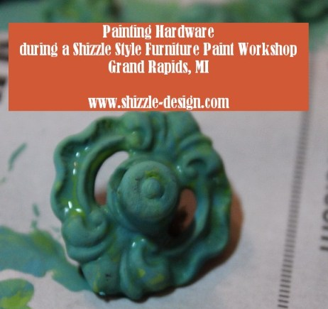 October Workshops #shizzledesign furniture paint workshops chalk clay best Grand Rapids MI how to table #cececaldwells #americanpaintcompany green blue hardware patina