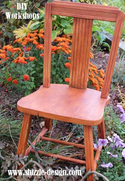 October #shizzledesign furniture paint workshops chalk clay best Grand Rapids MI how #cececaldwells chair Texas Prairie Green Mesa Sunset orange dark wax