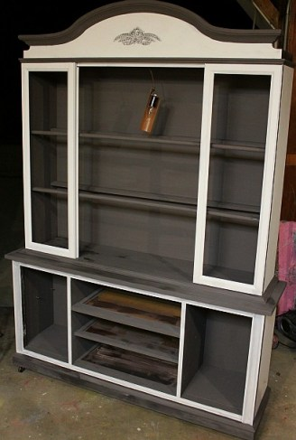 hand painted china cabinet hutch shizzle design grand rapids michigan display american paint company cece caldwell's 2