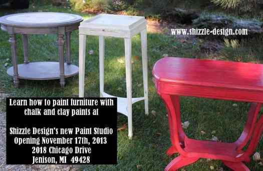 October #shizzledesign furniture paint workshops chalk clay best Grand Rapids MI how #cececaldwells #americanpaintcompany red black white tables 1
