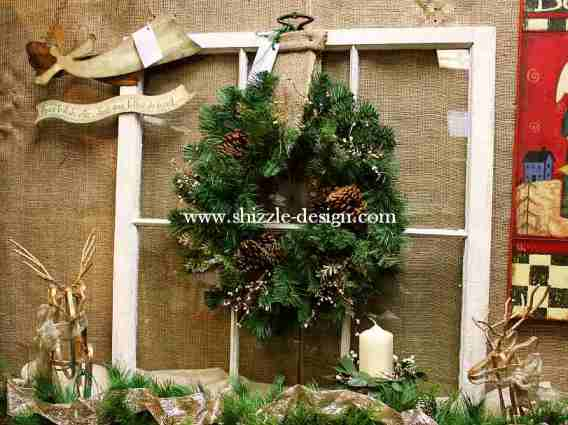 Shizzle Design Painted Furniture 2018 Chicago Drive Jenison Michigan 49428 Christmas Chippy Old Window Wreath 2
