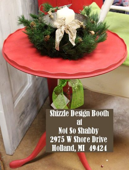 Shizzle Design Painted Furniture 2018 Chicago Drive Jenison Michigan 49428 Christmas Decor little red table 1
