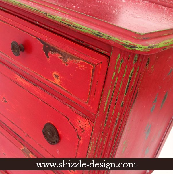 Shizzle Design Funky Chunky Distressed Red Highboy Dresser