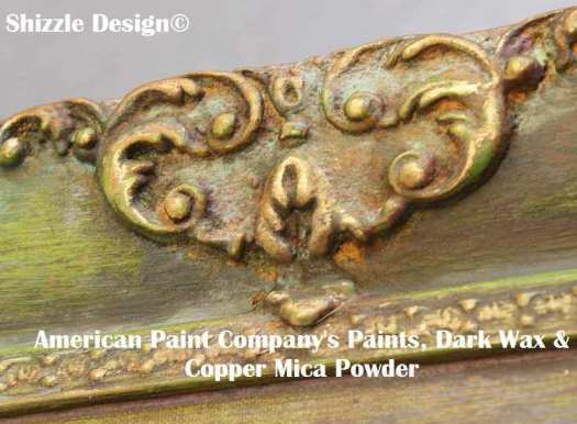 copper Shizzle Design Painted Furniture American Paint Company's Metallic Mica Powders ideas colors inspiration chalk clay paints painted frame 2