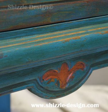 American Paint Company's Peacock hand painted antique buffet Shizzle Design 2018 Chicago Drive Jenison MI  49428 www.shizzle-design.com teal chalk clay 2 turquoise
