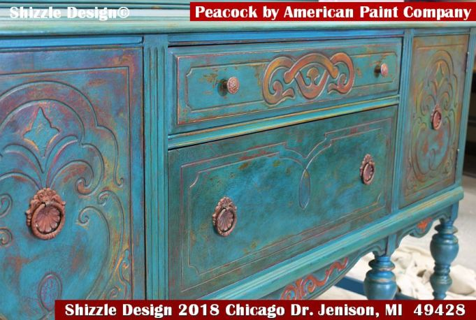 American Paint Company's Peacock hand painted antique buffet Shizzle Design 2018 Chicago Drive Jenison MI  49428 www.shizzle-design.com teal chalk clay turquoise