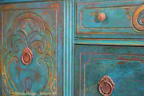 American Paint Company's Peacock hand painted antique buffet Shizzle Design 2018 Chicago Drive Jenison MI  49428 www.shizzle-design.com teal layers drawer 2