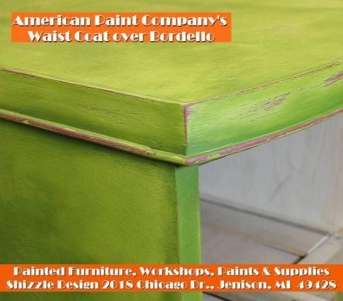 Shizzle Design chalk clay paint Grand Rapids MI American Paint Company green painted vanity colorful workshops 2018 chicago dr., Jenison, MI  49428 waist coat bordellow vanity