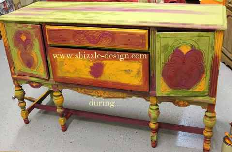 during - blog American Paint Company's Peacock hand painted antique buffet Shizzle Design 2018 Chicago Drive Jenison MI  49428 www.shizzle-design.com teal layers 1