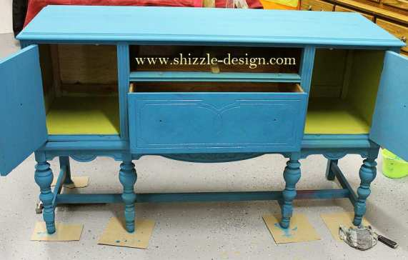 during - blog American Paint Company's Peacock hand painted antique buffet Shizzle Design 2018 Chicago Drive Jenison MI  49428 www.shizzle-design.com teal layers 4