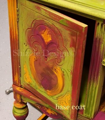 during - blog American Paint Company's Peacock hand painted antique buffet Shizzle Design 2018 Chicago Drive Jenison MI  49428 www.shizzle-design.com teal layers drawer 3