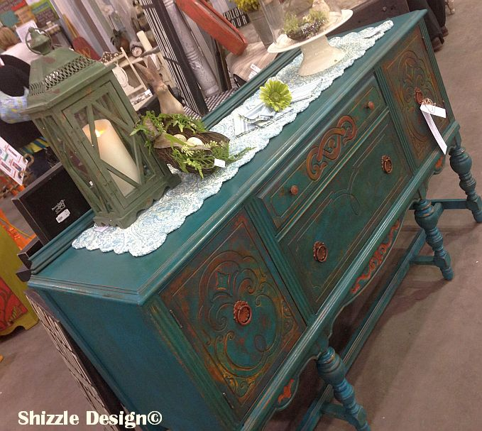 peacock blue buffet shizzle design painted furniture for sale grand rapids michigan chalk clay retailer