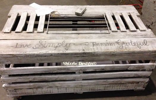 white washed coffee table re-purposed from crate Shizzle Design Grand Rapids, MI