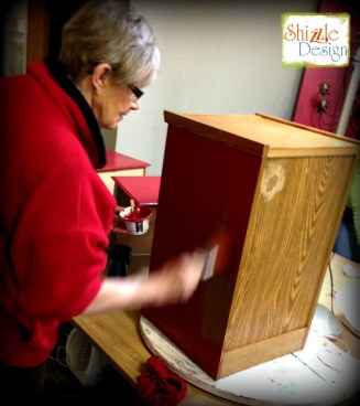 Learn how layer Chalk Paint colors DIY ideas inspiration Shizzle Design painted file cabinet workshops best class Grand Rapids Michigan American Paint Company red