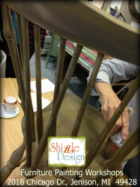 Learn how layer Chalk Paint colors DIY ideas inspiration Shizzle Design painted furniture makeovers workshops best class Grand Rapids Michigan American Paint Company chair