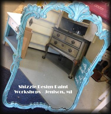 Learn how layer chalk clay paint colors DIY ideas inspiration Shizzle Design painted blue mirror workshops best class Jenison Michigan American Paint Company