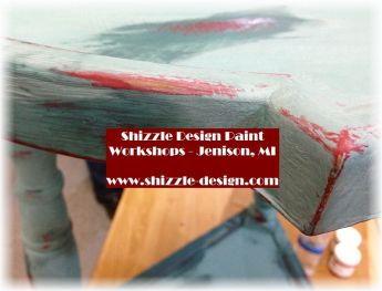 Learn how layer chalk clay paint colors DIY ideas inspiration Shizzle Design painted furniture makeovers workshops best class Jenison Michigan American Paint Company teal red