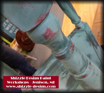 Learn how layer chalk clay paint colors DIY ideas inspiration Shizzle Design painted table workshops best class Jenison Michigan American Paint Company teal red