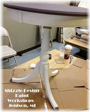 Learn how to layer chalk clay paint colors DIY ideas inspiration Shizzle Design painted white drum table makeovers workshops best class Jenison Michigan American Paint