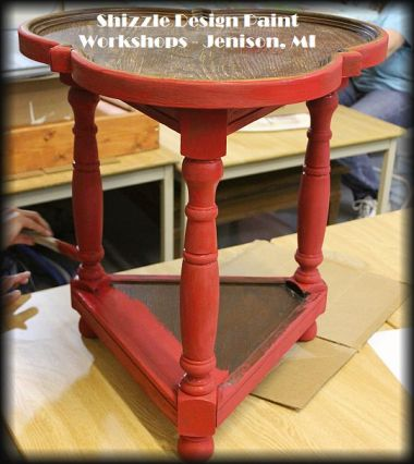 Learn how to layer chalk clay paint colors DIY ideas inspiration Shizzle Design red table makeovers workshops best class Jenison Michigan American Paint Company