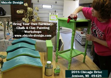 Learn how to layer colors chalk clay paints Shizzle Design furniture paint workshop best class Jenison Michigan American Paint Company Paints experienced ideas