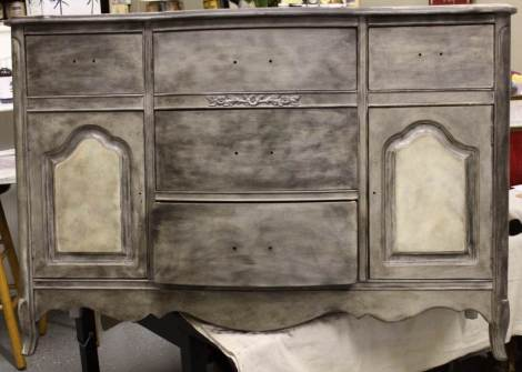 Shizzle Design French Provincial buffet hand painted american paint company chalk clay paints Shizzle Design Grand Rapids MI gray ideas black mica powder