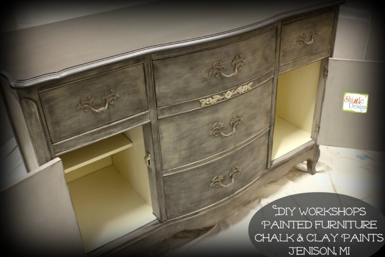 Shizzle Design French Provincial buffet hand painted american paint company chalk clay paints Shizzle Design Grand Rapids MI gray ideas inside cabinet door inside 2