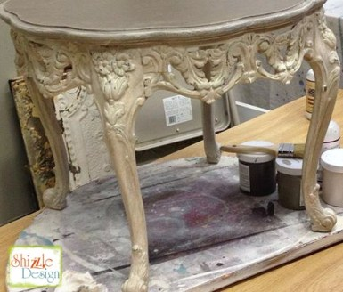 Sackcloth Cameo Pink Taupe chak paint Shizzle Design Grand Rapids MI Ornate Antique Table 2