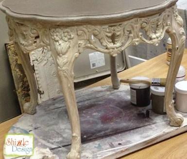 Sackcloth Cameo Pink Taupe chak paint Shizzle Design Grand Rapids MI Ornate Antique Table 2