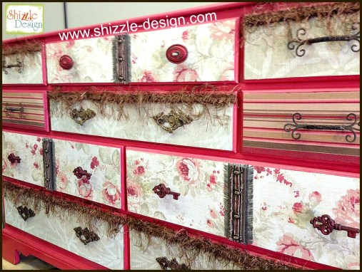 how to apply fabric to drawer fronts furniture rose floral stripes shizzle design painted furniture shizzle deesign