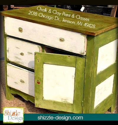Nanas Cupboard Chalk Paint Green Painted Furniture Dresser Chest American  Michigan Retailer Shizzle Design