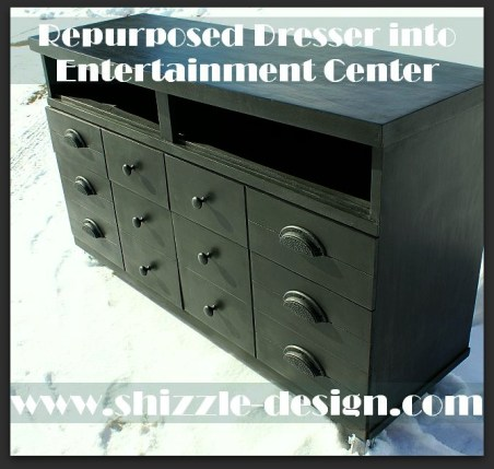 Shizzle Design American Paint Company black entertainment center painted dresser repurposed chalk clay ideas 1