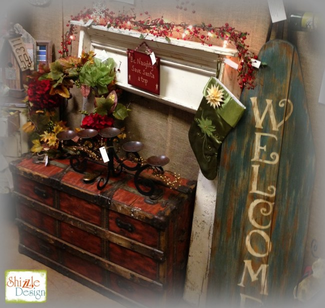 Christmas 2014 faux reclaimed wood fireplace vintage trunk Shizzle Design Chalk paint supplies michigan