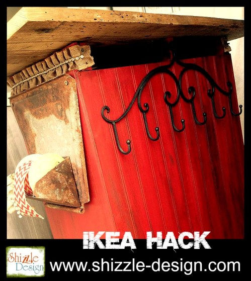 Ikea Hack fabric Junk Gypsies Kitchen Island red chalk paint shizzle design beadboard, metal hooks