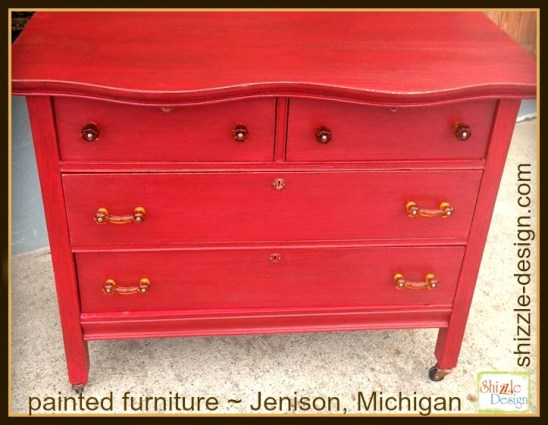 Firework's Red - Curved Oak Dresser shizzle design chalk paint ideas painted furniture michigan Shizzle Design 6