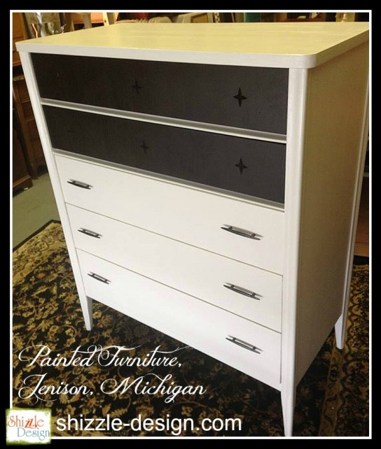 Mid Century Modern Broyhill Saga Star highboy gentlemans chest white paint Shizzle Design Grand Rapids Michigan chalk painted furniture stars