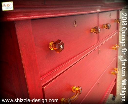 Firework's Red - Curved Oak Dresser shizzle design chalk paint ideas painted furniture michigan Shizzle Design 5