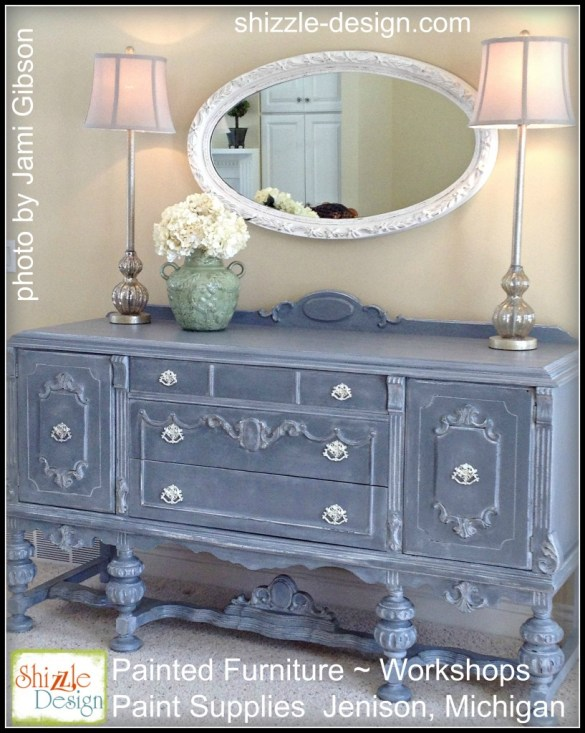 Tarnished Platter American Paint Company Shizzle Design gray blue buffet sideboard chalk painted furniture ideas Michigan white wash glaze wax annie sloan cece caldwell colors
