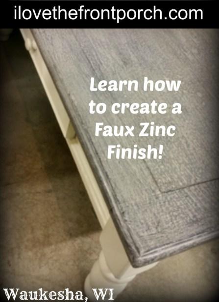 best faux zinc paint finish painted furniture Shizzle on The Front Porch Dousman, Wisconsin